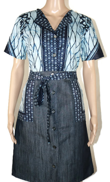 be15b689a3 Blue-Black and White African Print – Denim Dress – African Flair