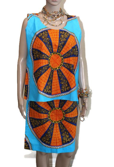 08cdb91656fc81 Blue & Orange African Print Skirt and Blouse – African Flair